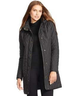 Faux Leather Trim Quilted Coat