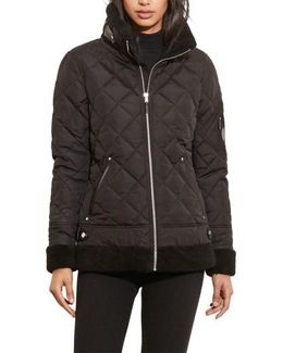 Faux Shearling Trim Quilted Bomber Jacket