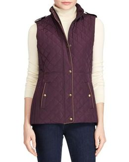 Faux Leather Trim Quilted Vest