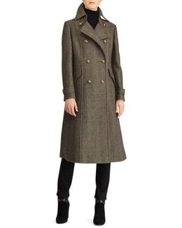 Herringbone Wool Blend Long Military Coat