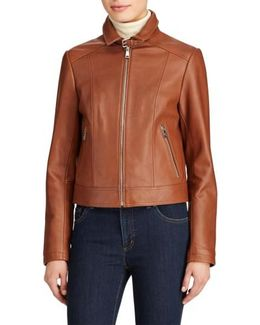 Shirt Collar Leather Jacket