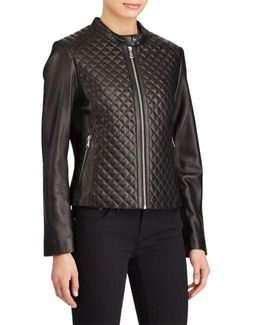 Quilted Detail Lambskin Leather Jacket