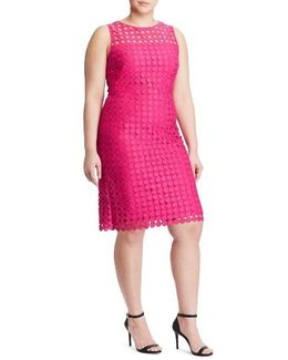 Dot Lace Sheath Dress