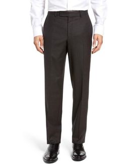 Jefferson Flat Front Check Wool Trousers