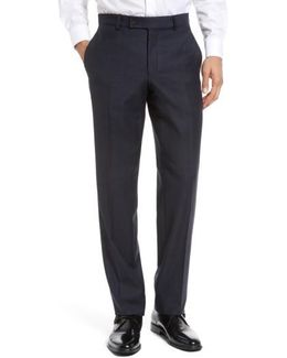 Jefferson Flat Front Plaid Wool Trousers