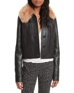 Diane Von Furtsenberg Faux Fur Collar Leather Jacket