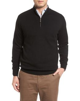 Mock Neck Quarter Zip Wool & Cotton Sweater