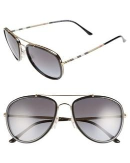 58mm Check Temple Pilot Sunglasses