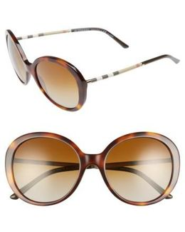 57mm Check Temple Polarized Round Frame Sunglasses - Blonde