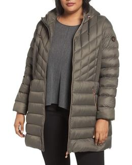 Hooded Packable Down & Primaloft Coat, Brown
