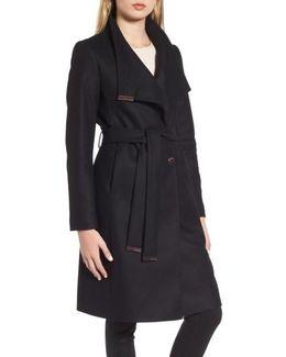 Wool Blend Long Wrap Coat