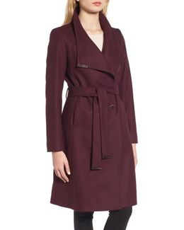 Wool Blend Long Wrap Coat