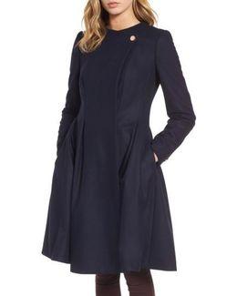 Wool Blend Asymmetrical Skirted Coat