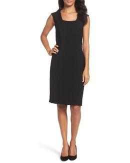 Seamed Stretch Sheath Dress