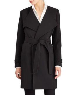 Flap Detail Crepe Wrap Coat