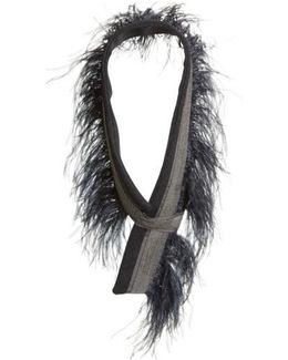 Genuine Ostrich Feather Trim Wool Blend Collar