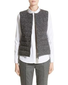 Pebbled Knit Front Quilted Down Vest