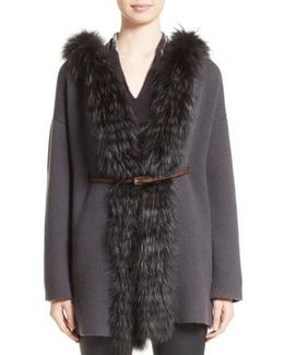 Belted Cashmere Hoodie With Genuine Fox Fur Trim