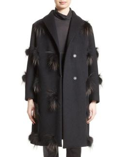 Genuine Fox Fur Trim Wool Blend Coat