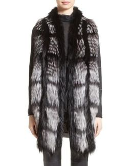 Genuine Fox Fur Front Cashmere Vest