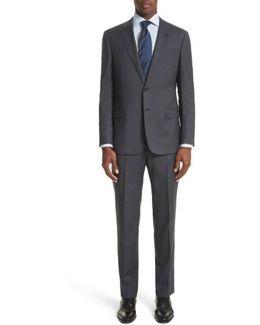 Trim Fit Check Wool Suit