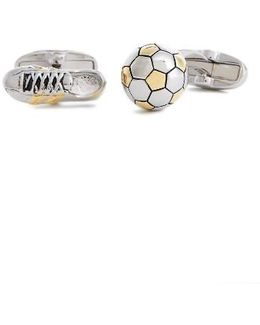 Football And Boot Gold And Silver-tone Cufflinks
