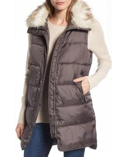 Faux Fur Trim Long Quilted Vest
