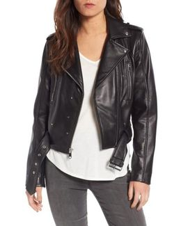 Starburst Studded Crop Moto Jacket