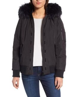 Faux Fur Trim Hooded Satin Bomber Jacket