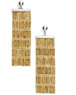 Two-tone Linear Fringe Earrings