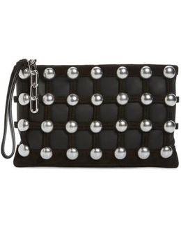 Roxy Studded Cage Leather Wristlet
