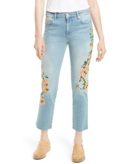 Embroidered Crop Girlfriend Jeans