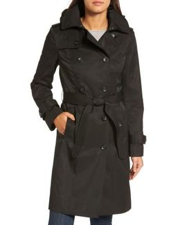 Hooded Double Breasted Long Trench Coat