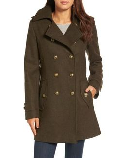 Wool Blend Skirted Military Coat
