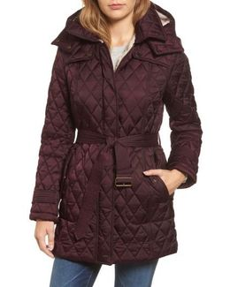Quilted Coat With Faux Shearling Lining