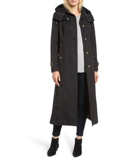 Hooded Single Breasted Long Trench Coat