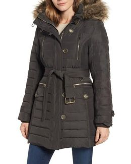 Belted Down Coat With Faux Fur Trim