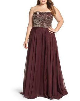 Beaded Bodice Strapless Chiffon Gown