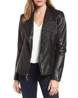 Asymmetrical Zip Leather Jacket