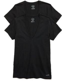 2-pack V-neck T-shirt, Black