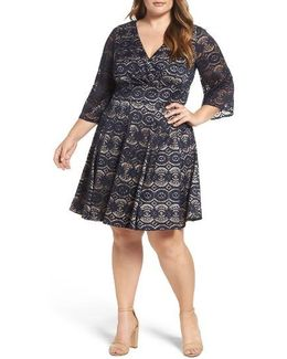 Bell Sleeve Lace Fit & Flare Dress