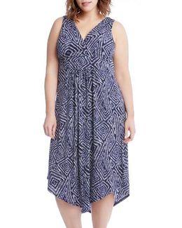 Asymmetrical Hem Geo Print Midi Dress