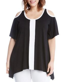 Colorblock Cold Shoulder Top