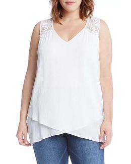 Lace Yoke Crossover Top