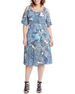 Cold Shoulder Paisley Midi Dress