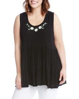 Embroidered Gauze Tiered Tank