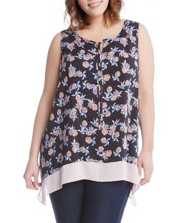 Contrast Hem Pineapple Print Top