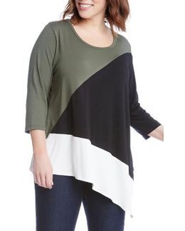 Asymmetrical Colorblock Top