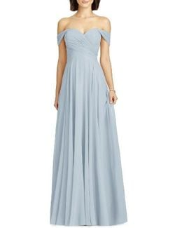 Lux Off The Shoulder Chiffon Gown
