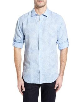 Shaped Fit Frond Print Sport Shirt